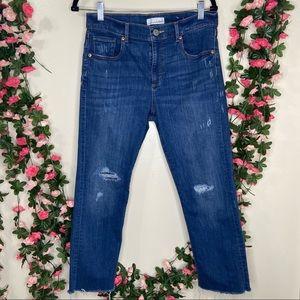 Loft Cropped Frayed Hem Jeans Womens 31P Casual